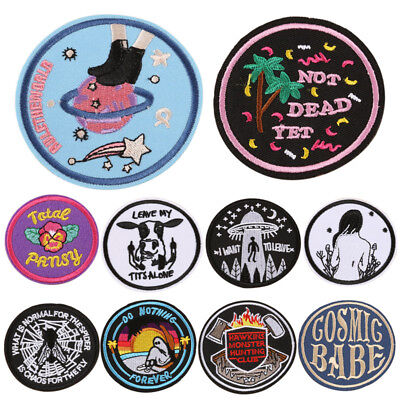 DIY Embroidery Patches Sew On Iron On Badge Applique Bag Craft Sticker Trans PQ