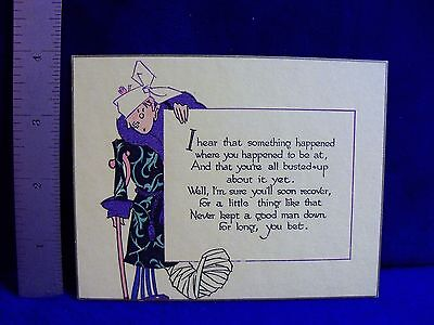 Vtg UNUSED Art Deco BUZZA CO. 'Get Well' Man in Bandages Robe cane Greeting Card