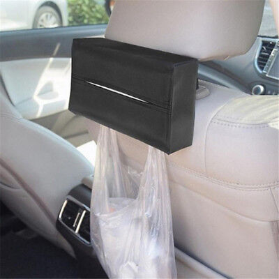 Black PU Leather Tissue Box Car Home Hotel Pumping Paper Napkin Holder Case ST1