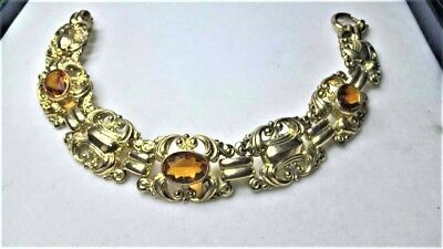 Vintage Double Armband mit Amber Glas