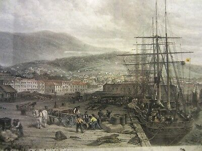 """Collectable an Antique """"The Quay Hobart Town"""" Print 1873"""