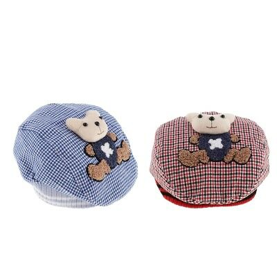 Toddler Infant Kids Baby Boy Girl Check Plaid Baseball Cap Casquette Beret Hat