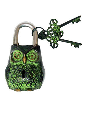 Antique Unique Symbolic Owl Figure Hand Crafted Padlock Lock & Keys BL 011