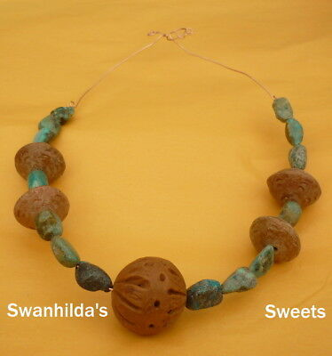 Larp Ooak Handcrafted Primitive Necklace No 1 Green Turquoise, Clay Swsw