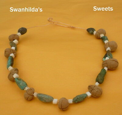 Larp Ooak Handcrafted Primitive Necklace No 2 Clay, Green Turquoise & Shell Swsw