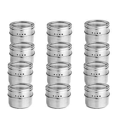 1-12PC Stainless Steel Magnetic Spice Pot Tin Jar Storage Holder Cook Stand T