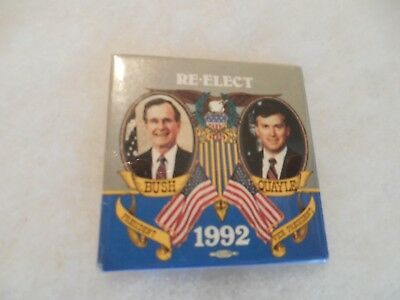Presidential George Bush Campaign Pin Back Button 1992 Quayle Re Elect Candidate