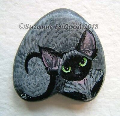 Devon Rex Cat painting art on heart stone rock handpainted by Suzanne Le Good