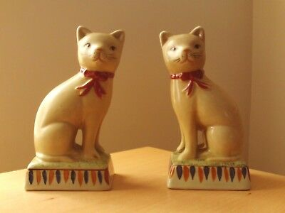 Vintage Pair Of Unusual Mantel Piece Cat Figurines.