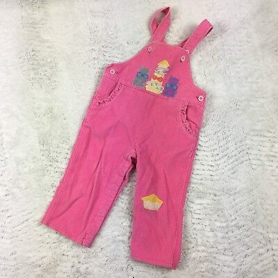 VTG Joyeaux Gamins Happy Kids Girls Overalls Corduroy Pink Kittens Cats Baby 12m