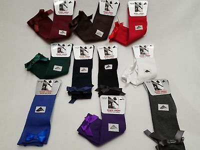 NEW Girls Ladies Knee High Girls School Socks With Satin Bow all Size 1 Pair
