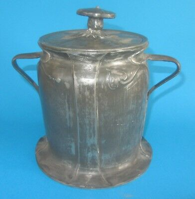 ANTIQUE LIBERTY & CO TUDRIC PEWTER BISCUIT BARREL BY Charles Voysey  059