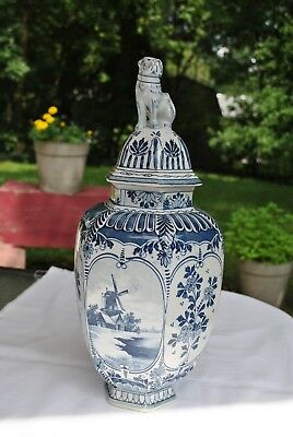 Delfts Blue Hexagon Urn/Ginger Jar With Lid Vintage Hand Painted Windmill