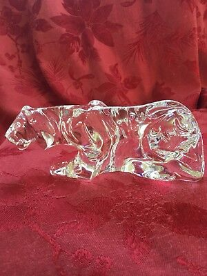 FLAWLESS Exquisite BACCARAT France Art Crystal CROUCHING TIGER LION Figurine