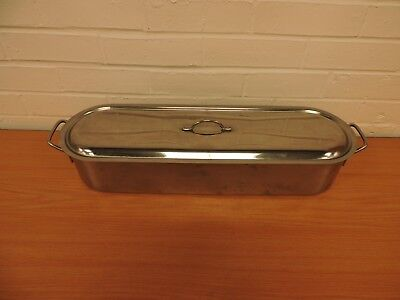 "Stainless Steel Fish Kettle/poacher 24"" With Lid And Drain Rack"