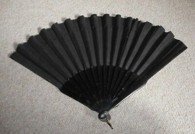 Vintage ebony wood and fabric black mourning fan