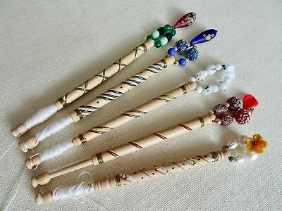 Five Turned Hard Wood Lace Maker's Bobbins With Wire And Tinsel Decoration