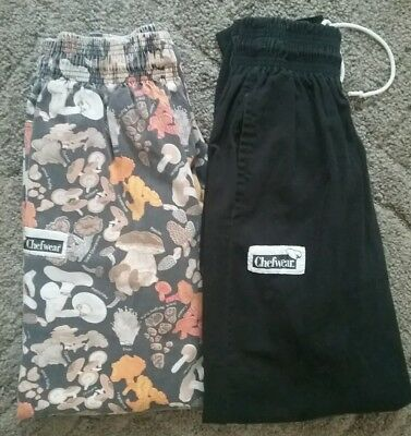 Lot of 2 Medium Chefwear Chef Cooking Baggy Pants Mushroom and Black Line Cook