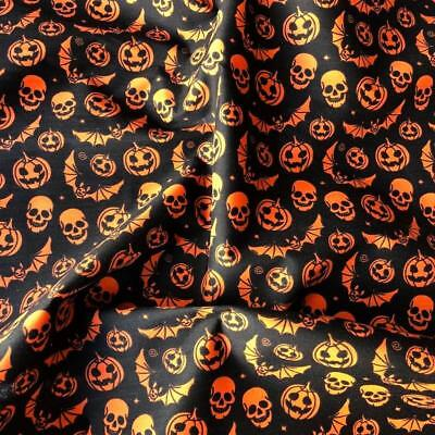 Poly Cotton Fabric Printed Skulls, Bats and Pumpkins Black 115cm