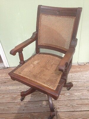 Vintage Antique Gunlocke Style Caned Dark Walnut Bankers Office Swivel Chair
