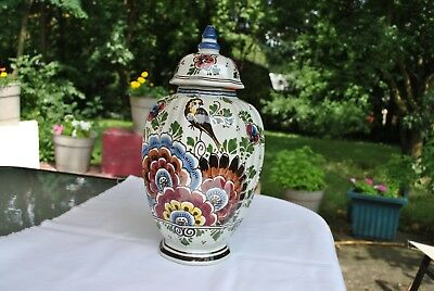 Mid Century Delfts Vintage Polychrome Urn/Ginger Jar with Lid Dahlias, RobynPeon