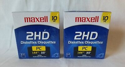 Maxell PC 3.5 HD 1.44MB Pre-Formatted MF2HD Diskettes (2) 10-Packs New Sealed