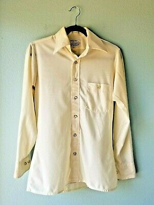 Arrow Doubler Mens Size 14 1/2 Shirt Vintage 1970s Ivory Button Down Long Sleeve