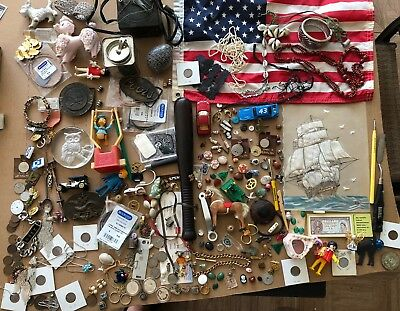 Junk Drawer lot Vintage silver n old US coins sterling jewelry Art toys stones
