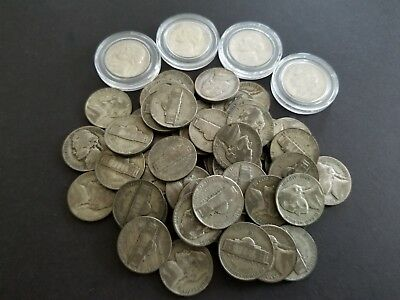 Large Lot Of (55) 35% Silver Nickels from World War 2 Period