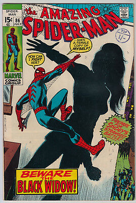 AMAZING SPIDER-MAN #86 FN- (5.5) Cents  1st App New Black Widow