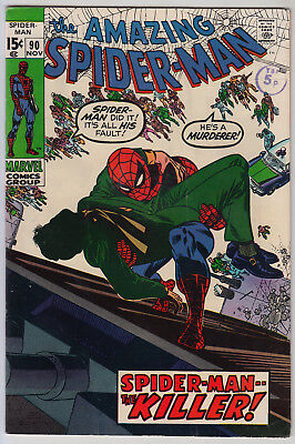 AMAZING SPIDER-MAN #90 VG/FN (5.0) Cents  Death of Captain Stacy