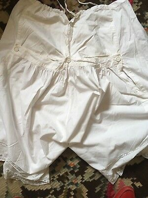 Victorian Back Flap Monogrammed White Cotton Bloomers