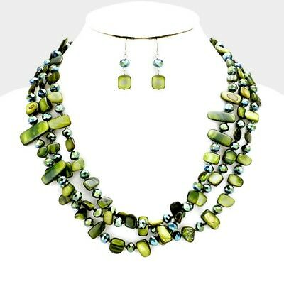 Three Strand Olive Green mother Of Pearl shell And Glass Bead Necklace Earring