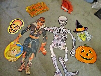 8 Vintage Halloween Paper Decor Some Jointed, Some Honeycomb
