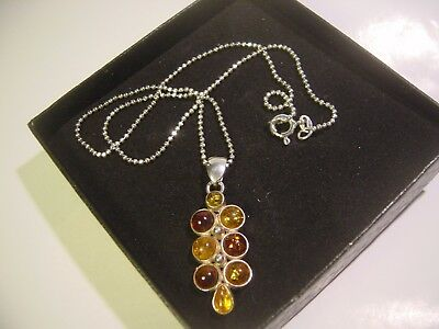 "Solid 925 Silver 16 "" Balls Chain Real 3 Colours Amber Pendent-Vintage-Quality"