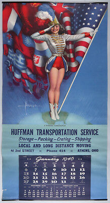 Vintage Large 1946 Rolf Armstrong Pin-Up Calendar Patriotic Jewel Flowers WWII