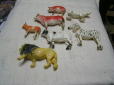 large lot vintage mid-century farm and zoo animals rubber