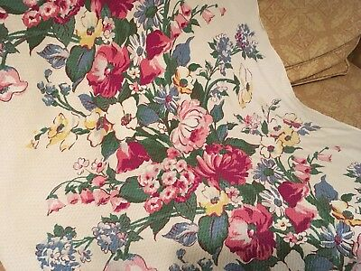 Vintage Barkcloth Fabric Over 6 Yards Waffle Texture White Pink Floral #G