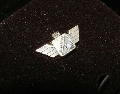 Braniff Airlines 25 Year Service Pin with Clear stone - 1/10 10K Gold Filled