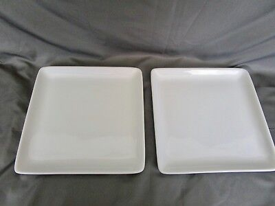 "PAMPERED CHEF Simple Additions Set of 2 10"" Square White Dinner Plates Stoneware"