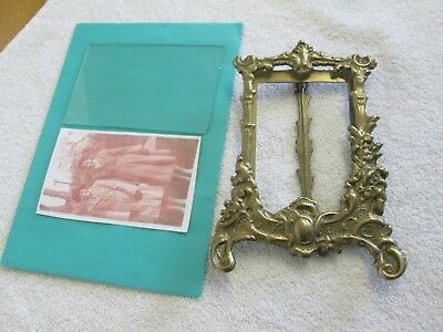 "Beautiful 7"" X 5"" Antique/vintage Easel Back Ornate Brass Picture/ Photo Frame"