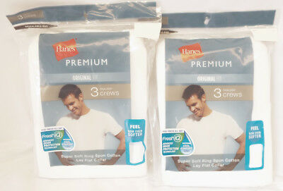 Hanes 6-Pack Premium (MED) Fresh IQ ODOR WICKING Men's Crew Neck T-Shirts White