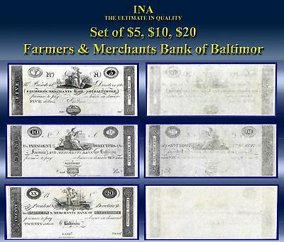 Maryland Farmers & Merchants Bank of Baltimore Set $5 $10 $20 Gem Unc