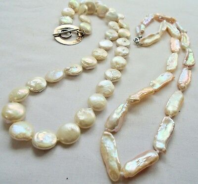 Good vintage hand knotted cultured pearl necklace (sterling silver clasp) + 1