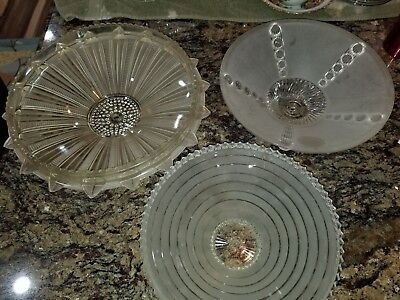 Art Deco Lot of 3 Vintage Ceiling Frosted Glass Light Shade W/Center Hole Lg #48