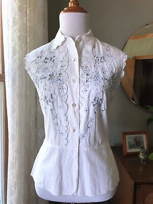 50s Shirt Beverly Hills Cotton Vtg Rhinestones Madeira Linen Embroidery Blouse