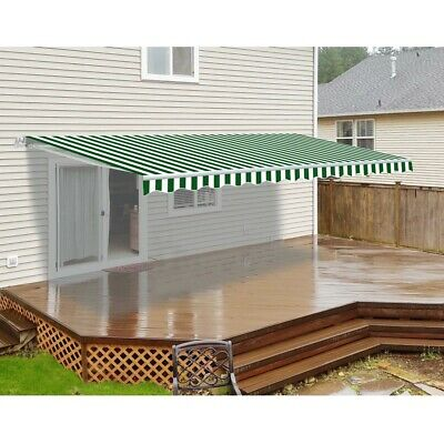 ALEKO Motorized Retractable Patio Awning 20 X 10 Ft Green and White Stripe