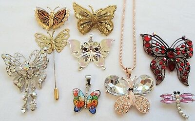 Lot vintage butterfly design brooches, pendants & stick pin (a.b crystal etc)