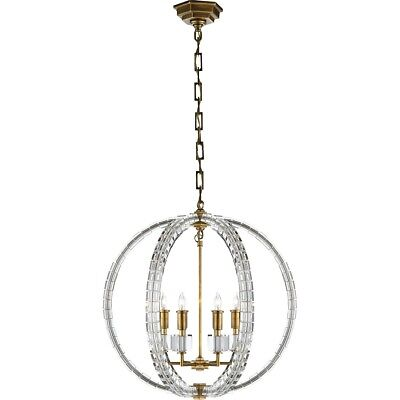 E. F. Chapman Crystal Cube 19 inch Antique-Burnished Brass Pendant Ceiling Light