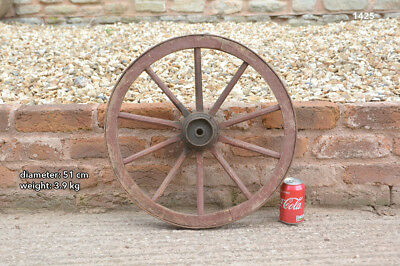 51 cm - vintage old wooden cart wagon wheel - FREE DELIVERY